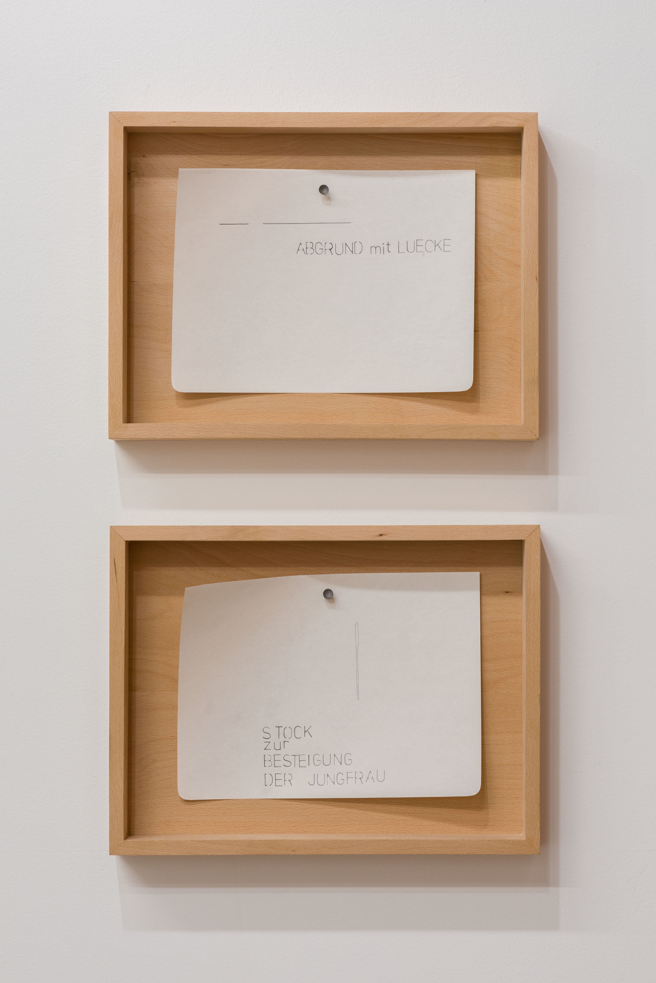 Margarethe Drexel, 'ABGRUND mit LUECKE (ABYSS with GAP)'and 'STOCK zur BESTEIGUNG DER JUNGFRAU (STICK for MOUNTING THE VIRGIN)' 2015, pencil on paper, nail. Each: 9.75 x 7 inches, framed with beech untreated, 17.75 x 10.5 x 2 inches. Photo: Ruben Diaz.
