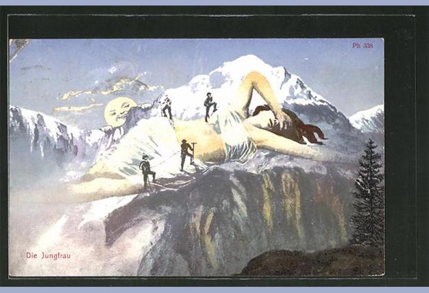 Postcard, The Jungfrau as a mountain with climbers, 1906