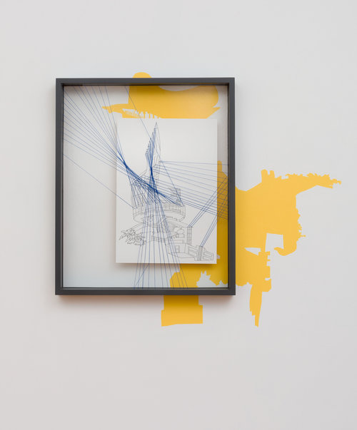 Kim Schoenstadt,  Perspective #5 , 2018, acrylic, pen, and string, 27 ¼ x 33 ¼ in. Photo: Ruben Diaz