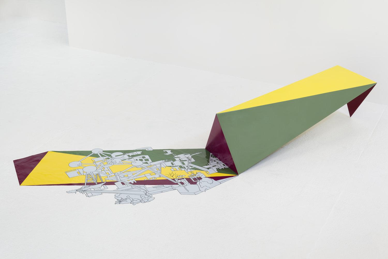 Kim Schoenstadt,  Sightline Construction No.12 , 2015, Vinyl and metal bench installation.  Bench: 71 x 23 x 19 ½ inches. Vinyl: 69 ½ x 39 ½ inches