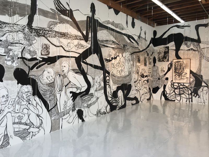 """""""A Soft Place to Lay"""" by William Downs, 2019. Ink wall drawing (detail). (Leah Ollman)"""