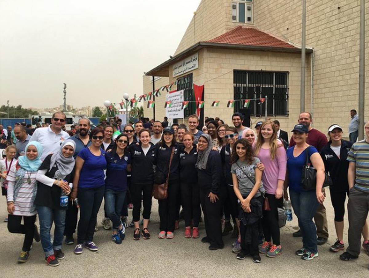 Samah and volunteers at the 2016 Nina Brekelmans Race for Girls in Amman, Jordan.