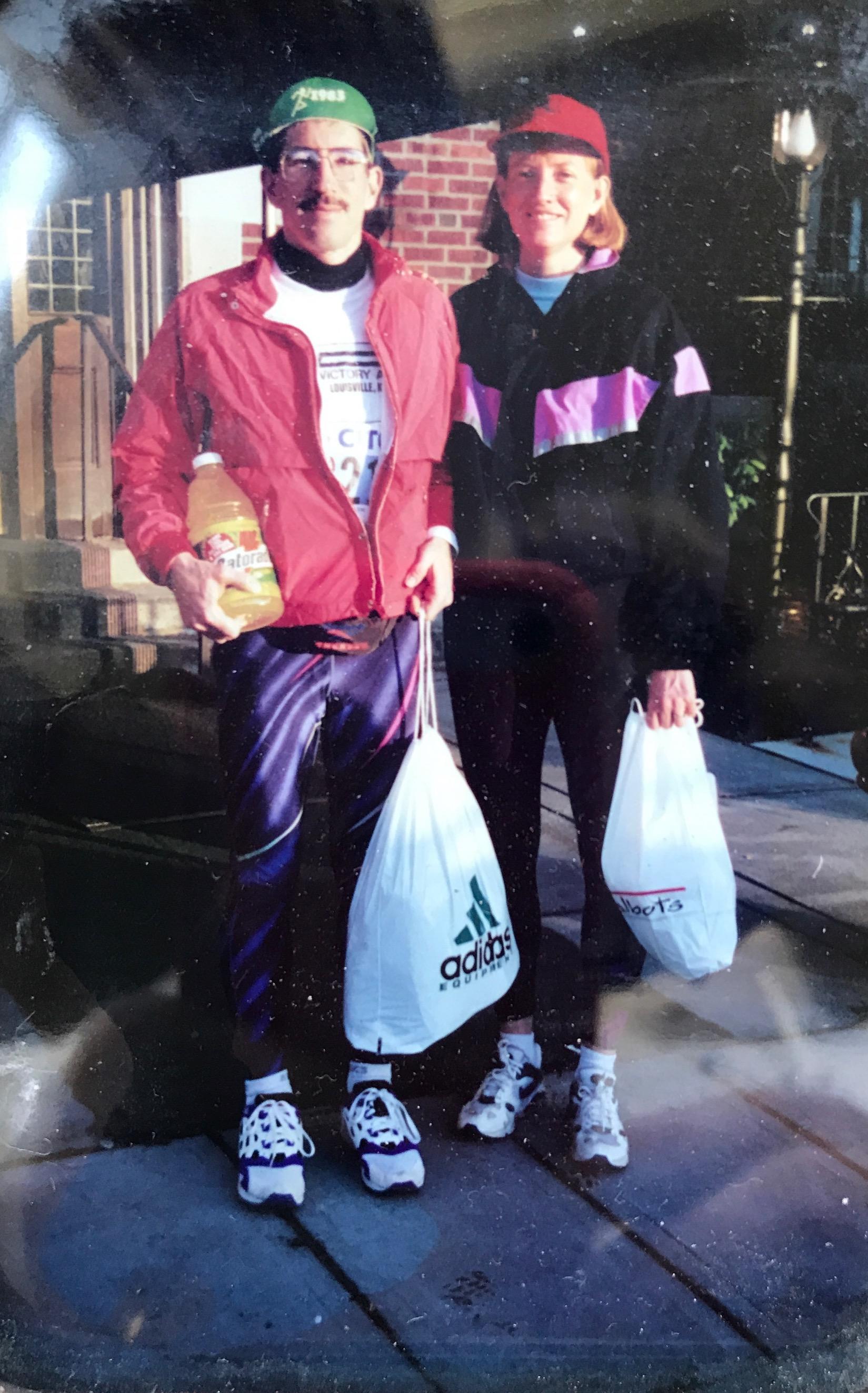Pellegrini parents before the 100th Boston Marathon