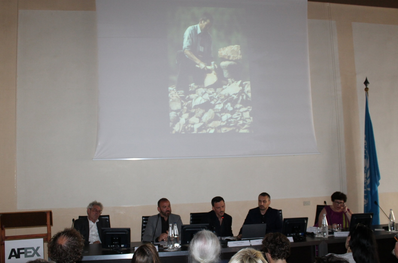 De gauche à droite François Roux, Président de l'AFEX, Fayçal Tiaïba - Olivier Marty - Nabil Afkiri, Studio KO, présentant le Musée Yves Saint Laurent de Marrakech, Grand Prix AFEX 2018, Madeleine Houbart, secrétaire générale de l'AFEX