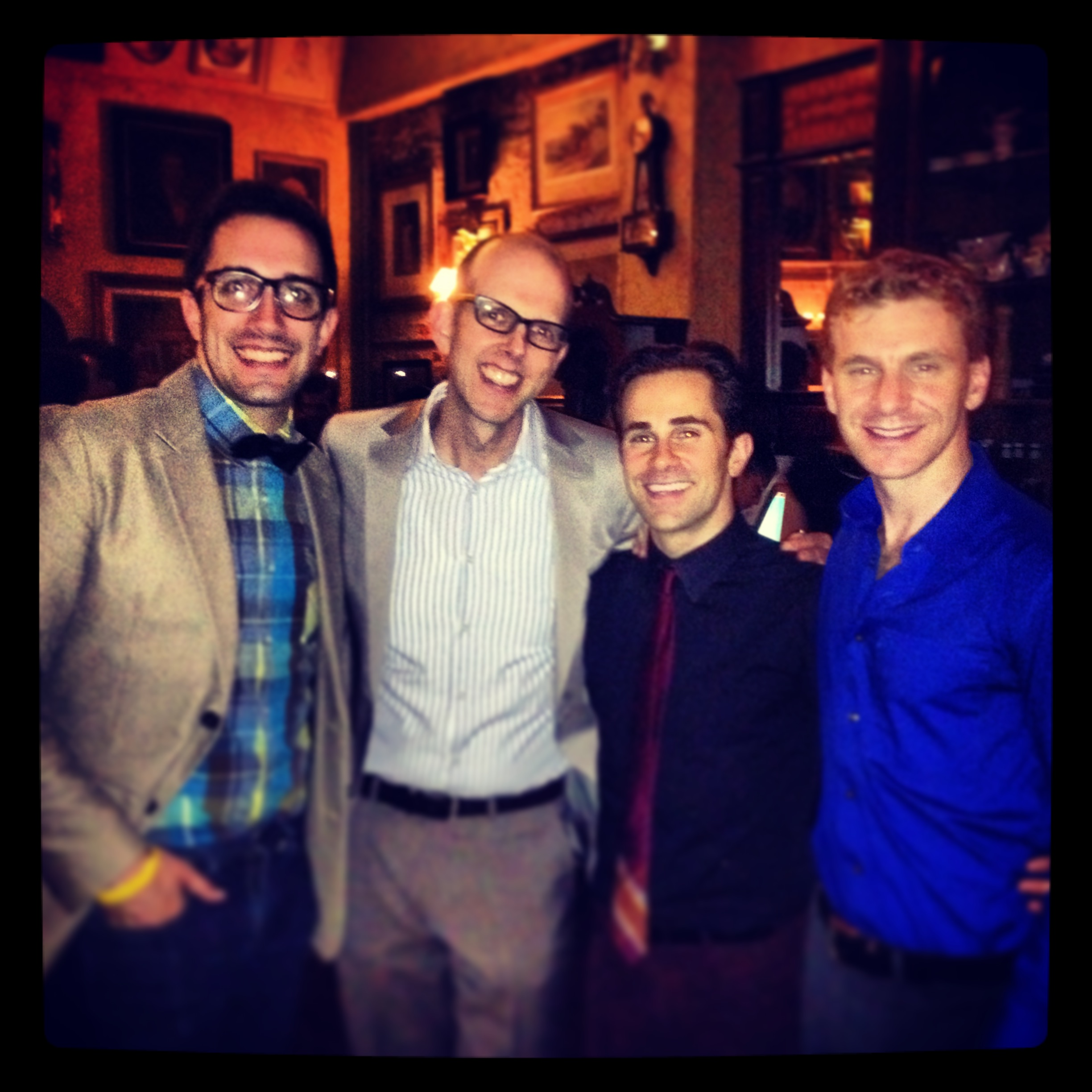 "Opening Night of ""Murder for Two"" Off-Broadway (New World Stages) with Jeff Blumenkrantz, Brett Ryback, and Adam Overett"