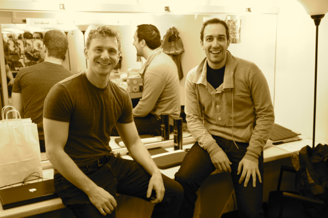 "Backstage with Adam Overett at ""Murder for Two"" Off- Broadway (New World Stages)"