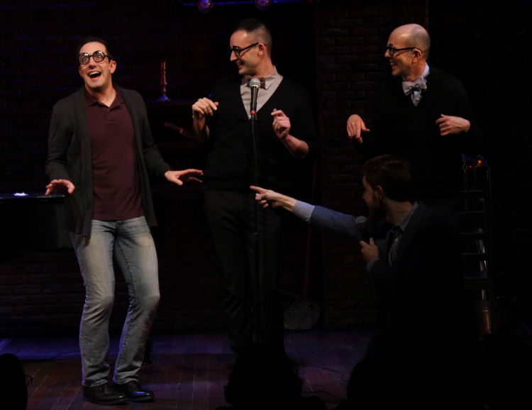 "At the Album Release Party for ""Murder for Two"" Off-Broadway with Joe Kinosian, Kellen Blair, and Jeff Blumenkrantz"
