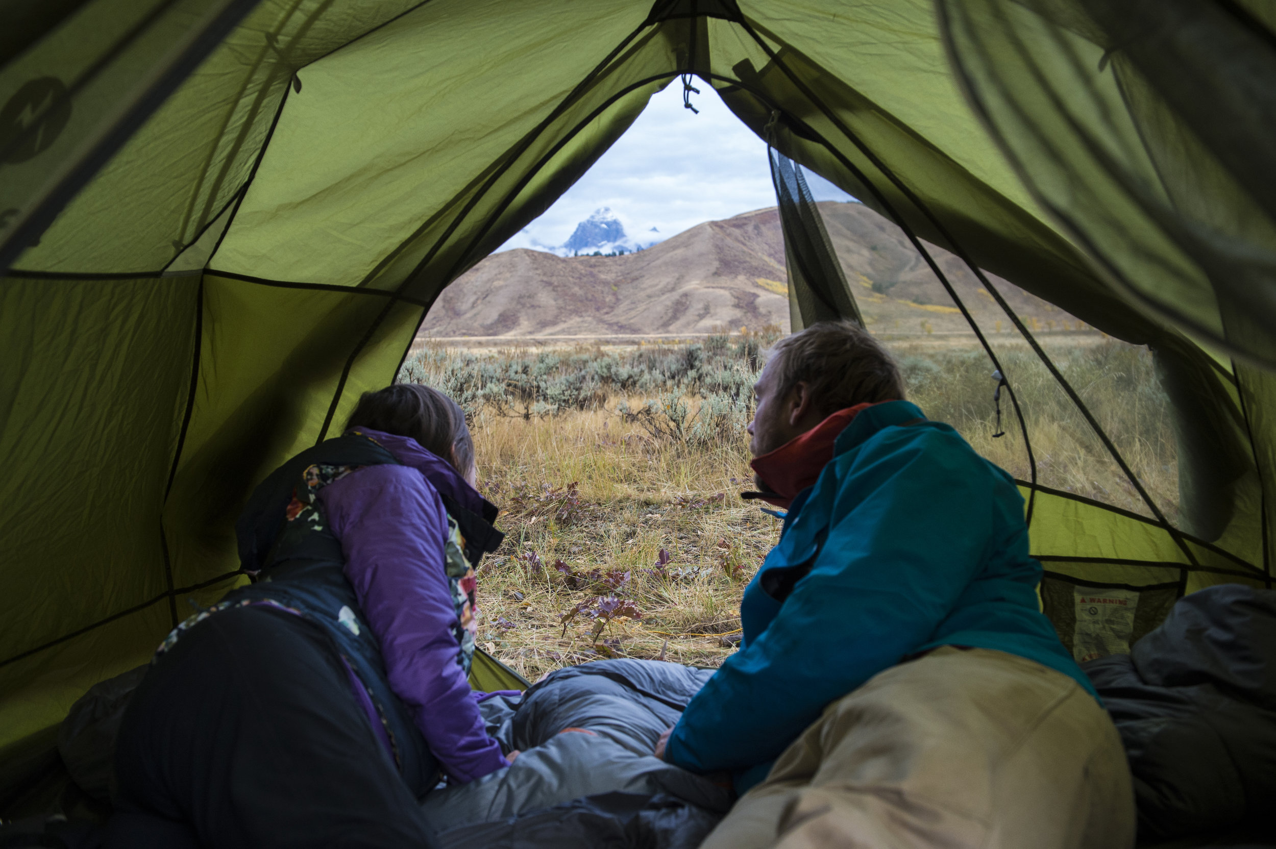 Waking in a tent in the shadow of the Tetons in Jackson, Wyoming