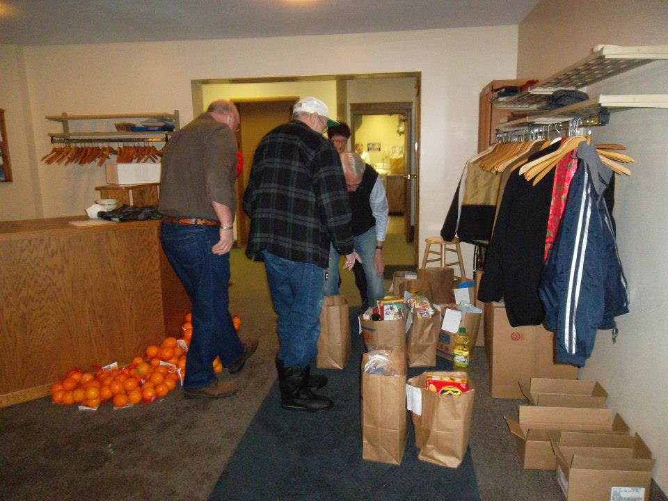 Sorting food for the Christmas Food Drive.