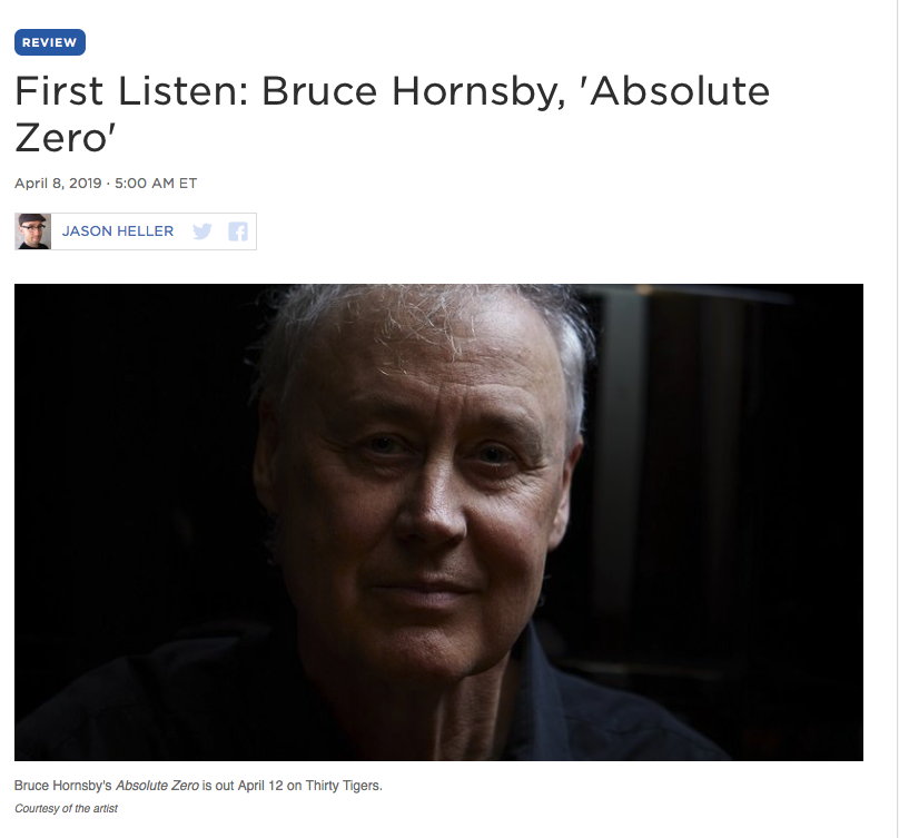 Far from a conventional Hornsby album, Absolute Zero is the sound of an artist subverting expectations and pulling it off brilliantly. At this point in his career, Hornsby could easily coast on writing cozy songs and settling for that. Thankfully for us, he's still up for an adventure. — NPR