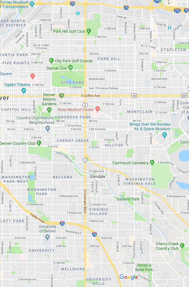 - We deliver within the east Denver boundaries of Broadway (west), I-70 (north), Hampden (south), and Yosemite (east).