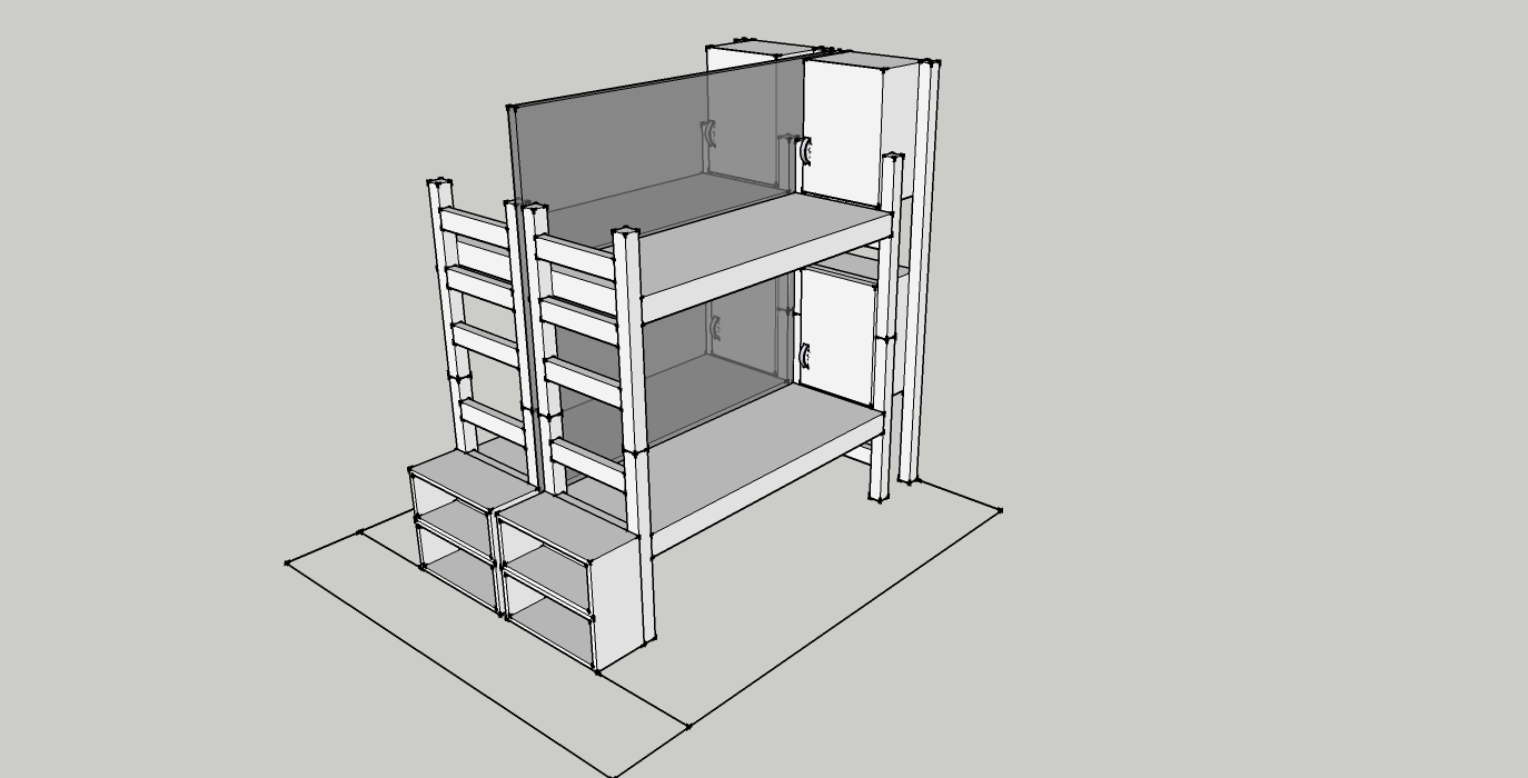 bunks with cubbies and clear partition
