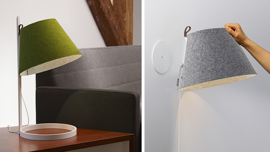These felt lamps have magnetic shades, making them versatile for different spots in the house or office /  Source