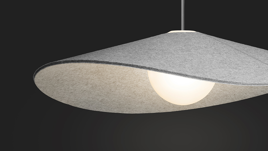 This Bola Felt shade is flexible to allow for light focus shifts /  Source