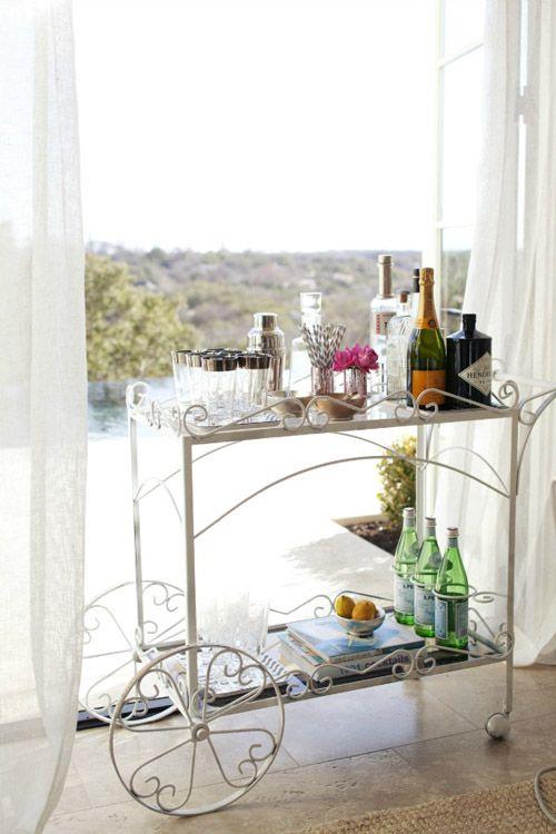 White vintage teacart as bar.jpg