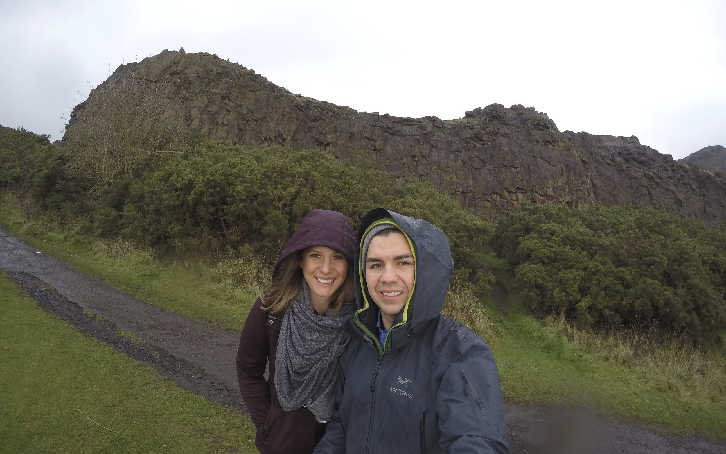 Starting our journey up Arthur's Seat - great way to keep warm!