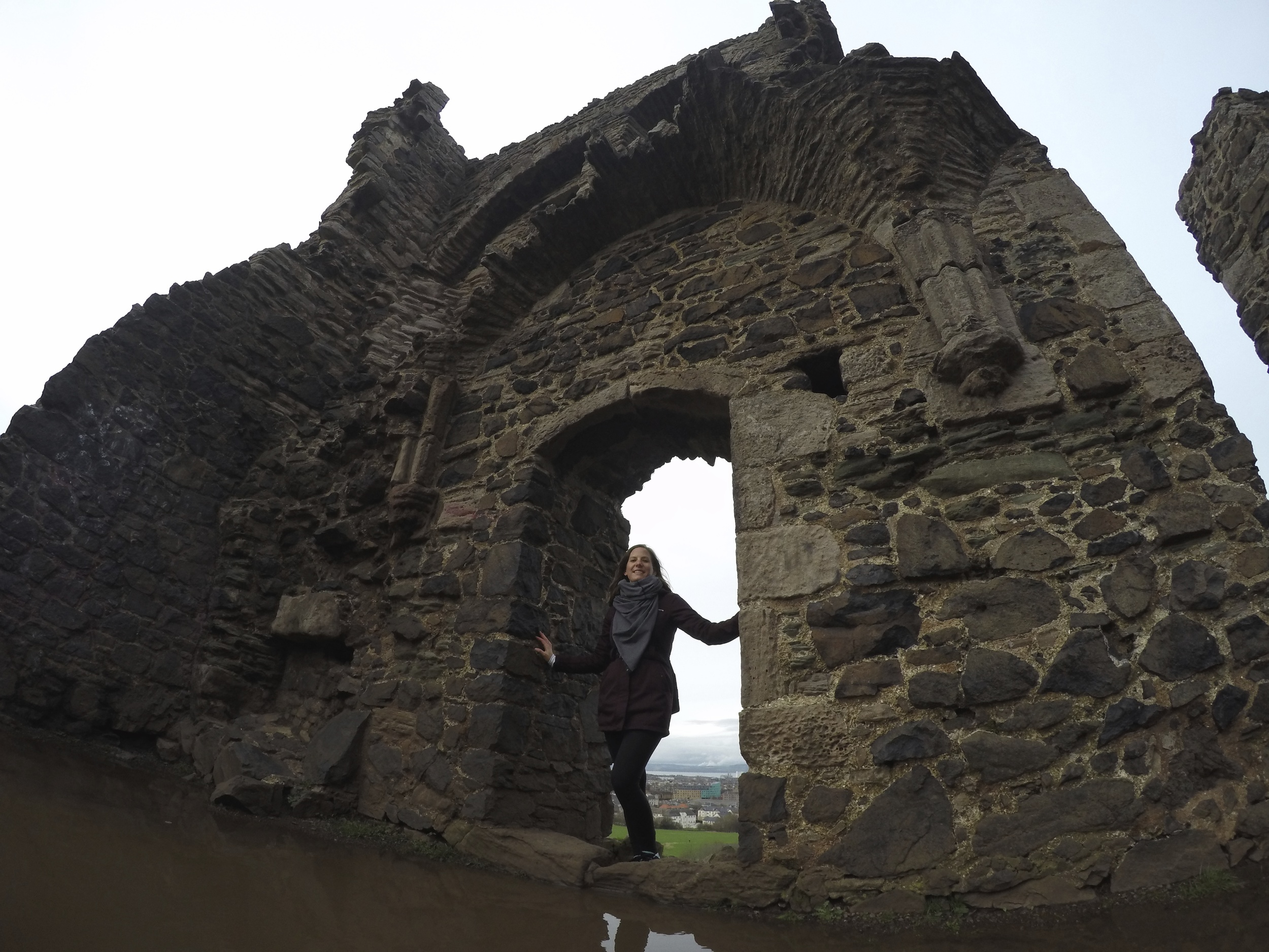 On our way back down Athur's Seat; ruins of St Anthony's Chapel