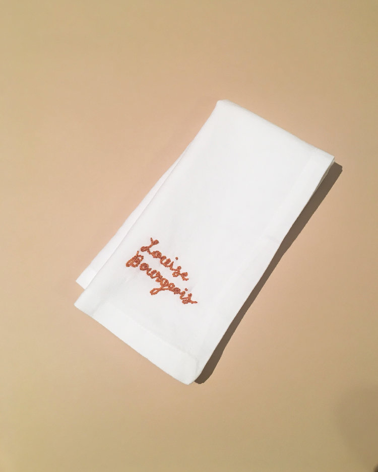 """Feminist Napkins"", ongoing series.  Hand embroidery on cotton dinner napkins."