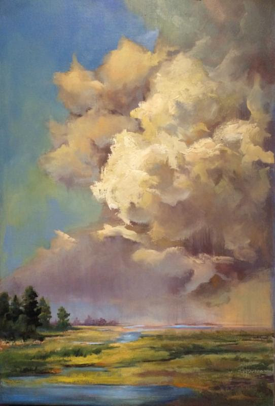 """""""Chance of Showers'' (oil on linen), by Donato Beauchaine, in the current group show """"Outside/In,'' at the Providence Art Club."""