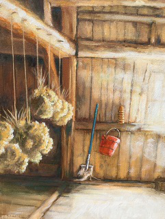 """Fritz's Barn'' (oil on canvas), by Tom Pirozzoli, at  the Patricia Ladd Carega Gallery, Center Sandwich, N.H."