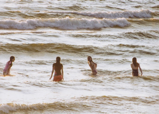 Four Girls Swimming, Old Silver Beach, Falmouth