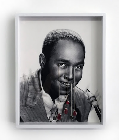 """""""Untitled (Charlie Parker)'' (silver, rubies, tektite and graphite on paper),by Todd Pavlisko, in his show """"Now's the Time,'' in the University Hall Gallery at the University of Massachusetts at Boston, Sept. 8-Oct. 15."""