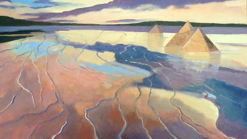 """""""Flooding Pyramids,'' by Jane Eccles, in the group show """"Saving Gaia: The Seven Thunders,'' at Miller White Fine Arts, South Dennis, Mass., through Dec. 30. The show focuses on fears of global warming, including such manifestations as increasing beach erosion on low, sandy Cape Cod."""