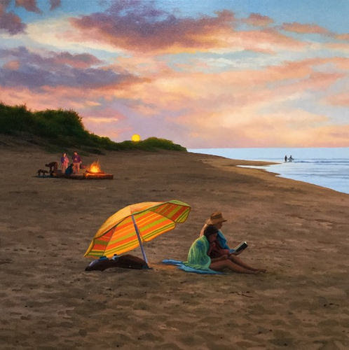 """Beach at Sunset'' (oil on panel) by Scott Prior, in the show ""Scott Prior's New Paintings,'' at Alpha Gallery, Boston, through Nov. 30. His work includes paintings from every season in New England."