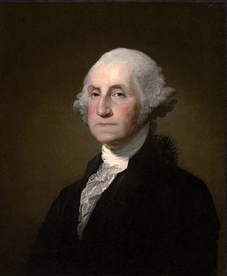 George Washington, as painted in 1797 by Gilbert Stuart, a Rhode Islander.
