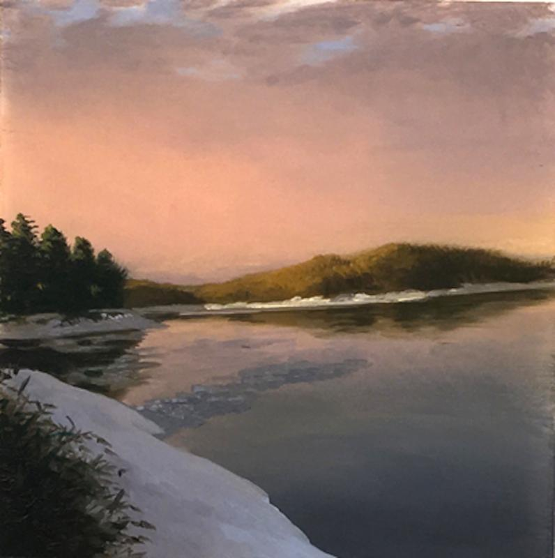 """""""Pine Ledge'' (oil on lexan), by James Mullen, at Alpers Fine Art, Andover, Mass."""