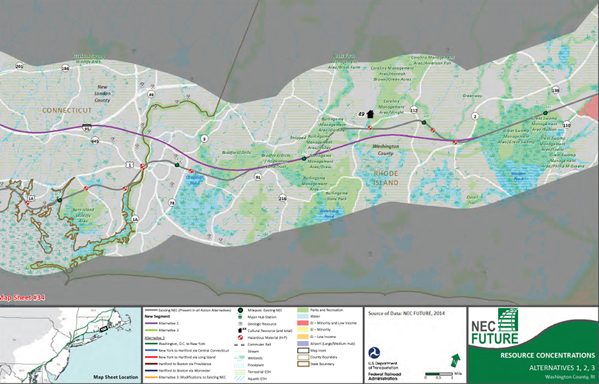 The proposed path of the new Northeast Corridor railroad route through the Rhode Island towns of Westerly and Charlestown has some officials and residents worried. (NEC Future environmental impact statement). Yes, much of this is impossible to read, but you get a sense of the route.