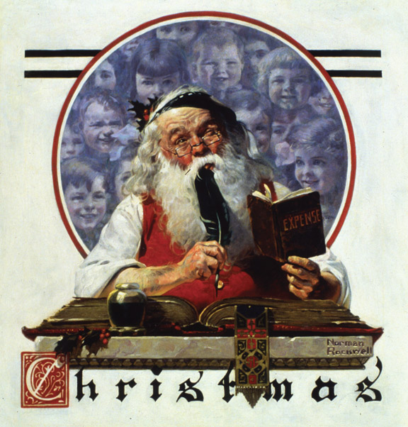 """""""Santa and Expense Book'' (oil on canvas), by Norman Rockwell, for the Saturday Evening Post cover of Dec. 4, 1920. This is in the collection of the National Museum of American Illustration, Newport, R.I. Image courtesy of American Illustrators Gallery, NYC."""