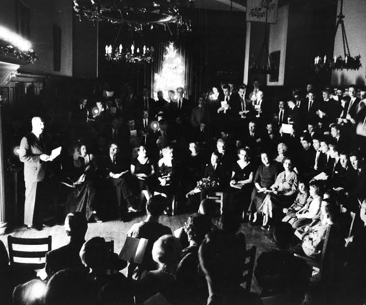 Yule Night in King Hall at St. George's School circa 1960. (Photo courtesy of St. George's School Archives.)