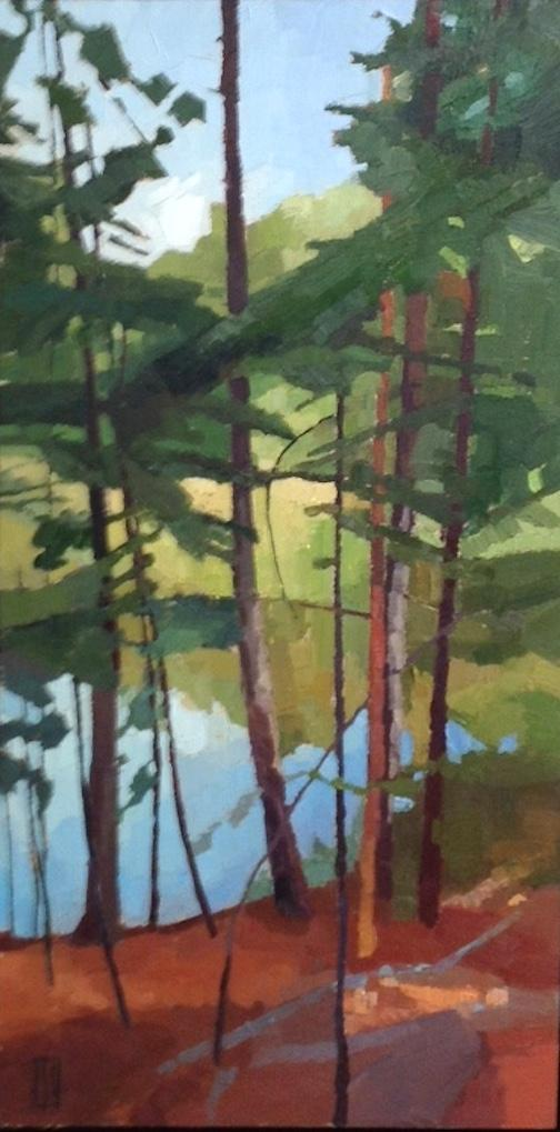 """Beaver Pond'' (oil on panel), by Sue Charles, at Alpers Fine Art, Andover, Mass."