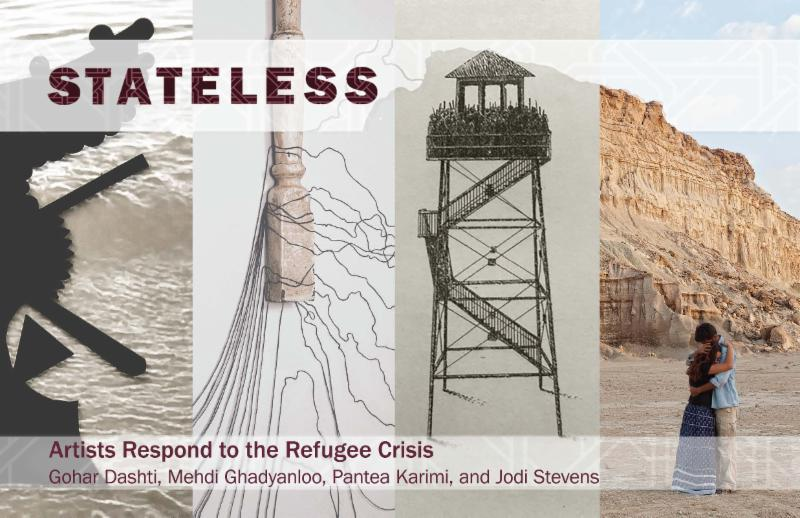 """From the promotion of the show """"Artists Respond to the Refugee Crisis,'' at the Galleries of the University of Massachusetts at Dartmouth, through Jan. 29.     Featuring the work of Gohar Dashti in conjunction with Mehdi Ghadyanloo, Pantea Karimi, and Jodi Stevens   """"Stateless'' brings together the work of four artists who reflect on the recent refugee crisis and issues of human displacement and migration."""