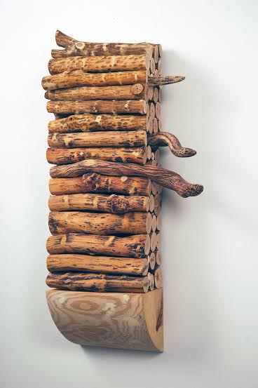 """""""Logjam'' (maple, wisteria, bittersweet, willow, cedar, wood dyes and oil paint), by Susan Lyman, at Boston Sculptors Gallery."""