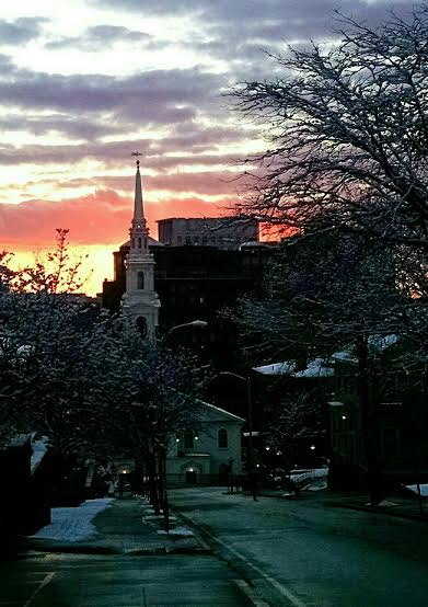 --Photo by Charles Pinning    Rolling down Angell Street at dusk on College Hill, Providence.