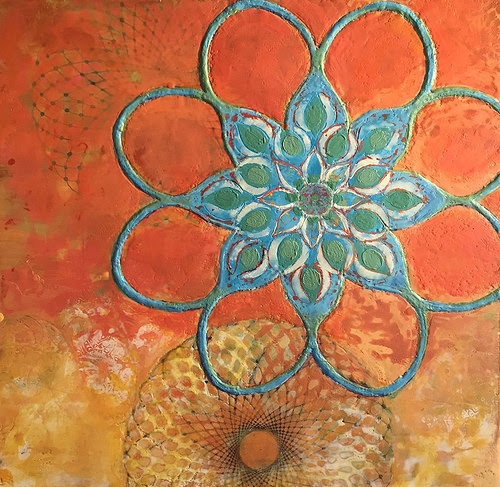 """""""Amrit Vela'' (encaustic on wood), by Sharon Ligorner, in the group show """"Encaustic Art,'' at Francesca Anderson Fine Art, Lexington, Mass., through March 25. """"Amrit Vela'' is a Hindi phrase meaning the time few hours before sunrise."""