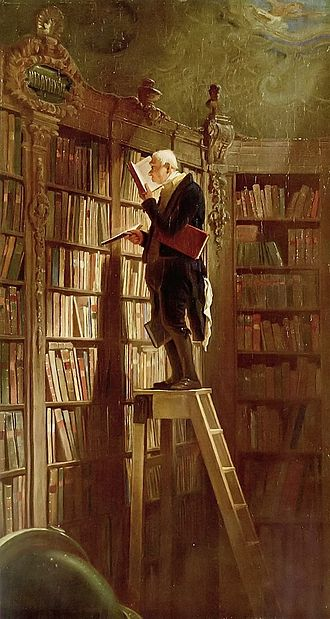 """The Bookworm'' (1850),  by  Carl  Spitzweg ."