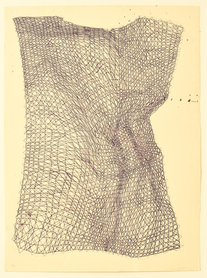 """""""Twisted Torso'' (gouache on paper), by Laura Watt, in the show """"Grids,'' at Periphery Space gallery, Pawtucket, R.I., April 29-May 27.     The title and subject of the show comes from the 1979 essay """"Grids,'' by Rosalind Krauss. The show shows the work of six artists fascinated with the grids. They explore pattern, repetition and geometry in nature and everyday life."""