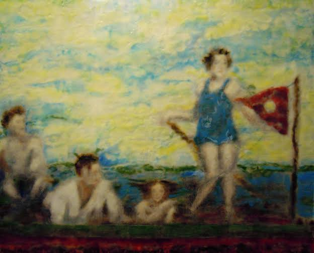 """""""Summer Blur'' (encaustic) by Nancy Whitcomb, in the group show """"Four Explore,'' with Angel Dean, Mimo Gordon-Riley, Nancy Gaucher-Thomas and Priscilla Foley Blackman, at the Providence Art Club, April 23-May 12."""
