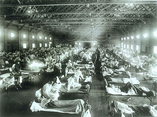 Soldiers from    Fort Riley   ,   Kansas   , ill in the great influenza pandemic of 1918.