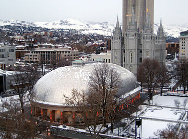 The Mormon Tabernacle on Salt Lake City.