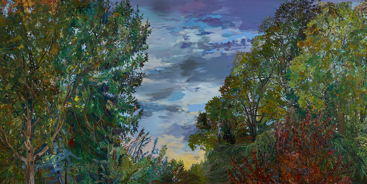 """""""Rim of Sunlight and Trees'' (oil on canvas), by Nancy Friese, in her show """"Arbor Views,'' at Cade Tompkins Projects, Providen ce."""