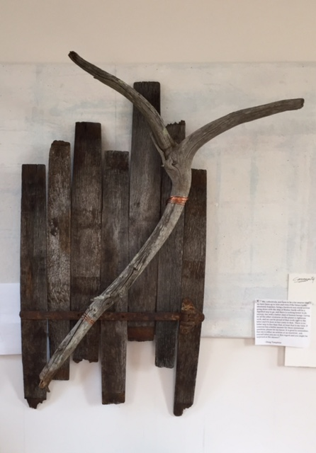 """Synthesis'' (oak, driftwood), by C.C. White, at Patricia Ladd Carega Gallery, Center Sandwich, N.H."