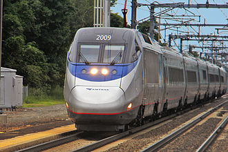 Amtrak Acela train in Old Saybrook, Conn. The Acela is a fast train by U.S. standards but much slower than high-speed trains in most of the rest of the Developed World.