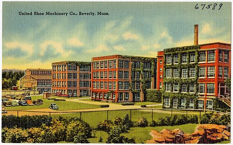 Vintage postcard of the biggest United Shoe Machinery plant, in Beverly, Mass.