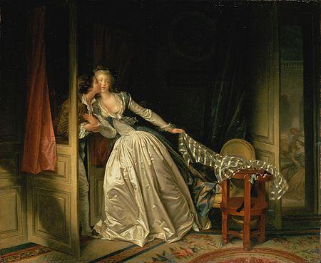 """"""" The Stolen Kiss,'' by  Jean-Honoré Fragonard (1786)."""