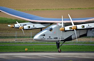 The Solar Impulse 2 is an electric-powered plane using solar energy to generate the electricity.