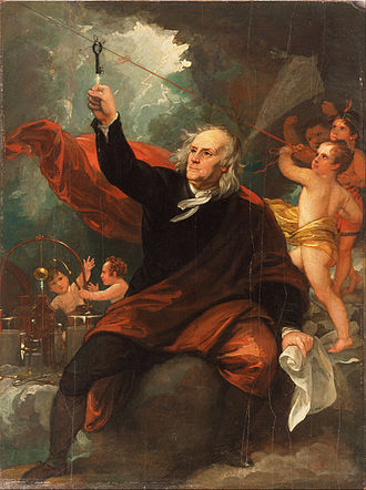 """""""Benjamin Franklin Drawing Electricity from the Sky' at the  Philadelphia Museum of Art , by  Benjamin West"""